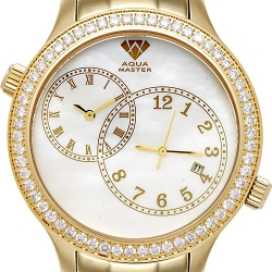 Aqua Master 2 Time Zone 2.45 ct Diamond Mens Gold Pearl Watch