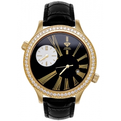 Aqua Master 2 Time Zone 2.45 ct Diamond Mens Black Leather Watch