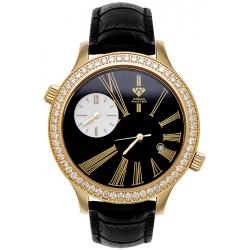 Aqua Master 2 Time Zone 2.45 ct Diamond Mens Black Leather Watch