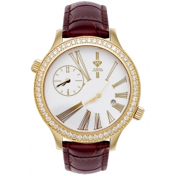 Aqua Master 2 Time Zone 2.45 ct Diamond Mens Brown Leather Watch