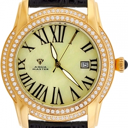 Aqua Master Slim 1.85 ct Diamond Mens Yellow Gold Watch