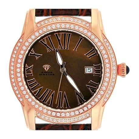 Aqua Master Slim 1.85 ct Diamond Mens Rose Gold Watch