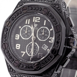 Aqua Master Royal 8.50 ct Iced Out Black Diamond Mens Watch