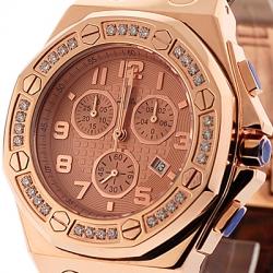 Aqua Master Royal 1.50 ct Diamond Mens Rose Gold Watch
