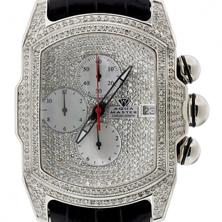 Mens Iced Out Diamond Silver Watch Aqua Master Bubble 7.00 ct
