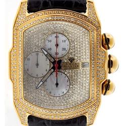 Mens Iced Out Diamond Yellow Watch Aqua Master Bubble 7.00 ct