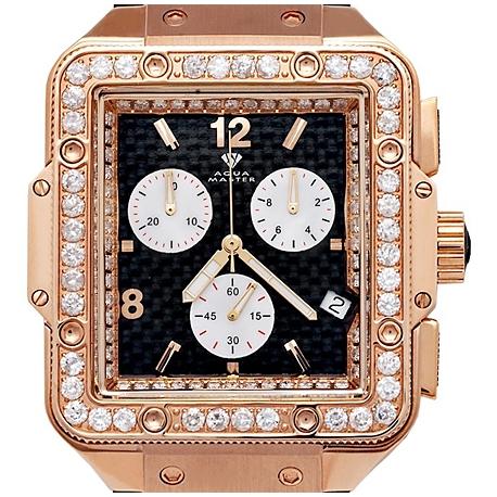 Aqua Master Square 4.25 ct Diamond Mens Rose Gold Watch