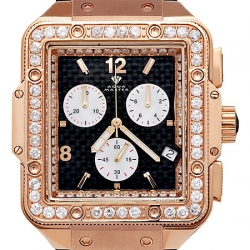 Aqua Master Square 4.25 ct Diamond Mens Rose Gold Watch