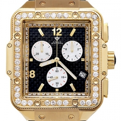 Aqua Master Square 4.25 ct Diamond Mens Yellow Gold Watch