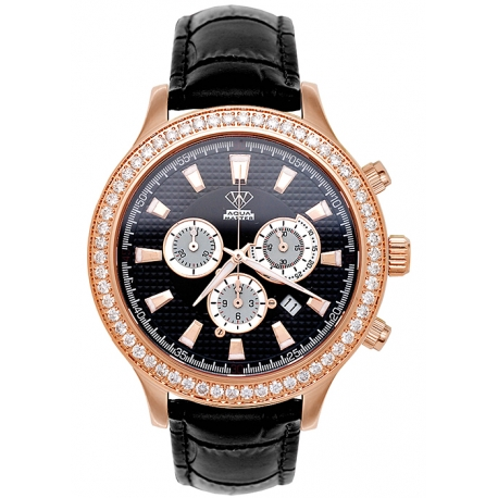 Aqua Master Rio 2.45 ct Diamond Mens Leather Rose Watch