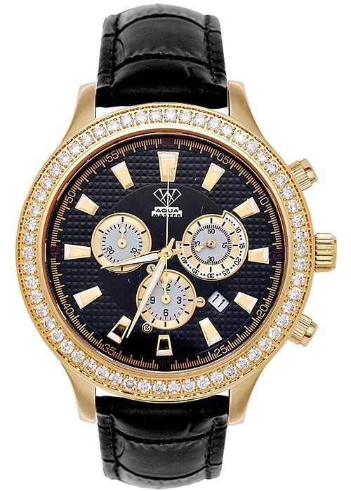 Aqua Master Rio 245 ct Diamond Mens Leather Yellow Watch