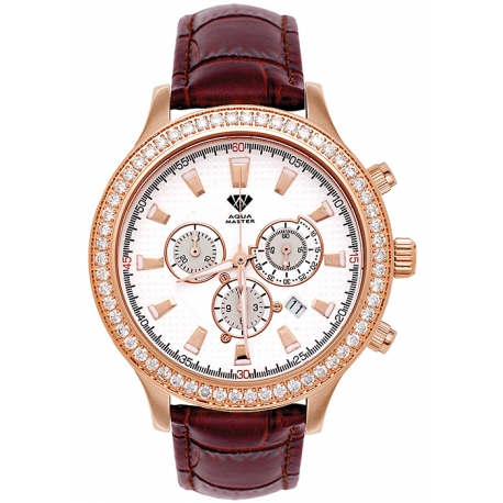 Aqua Master Rio 2.45 ct Diamond Mens Brown Leather Watch