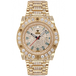 Aqua Master Magnum 17.00 ct Iced Out Diamond Mens Yellow Watch