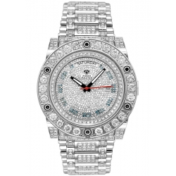Aqua Master Magnum 17.00 ct Iced Out Diamond Mens Silver Watch