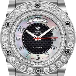 Aqua Master Magnum 7.65 ct Diamond Mens Black Dial Watch