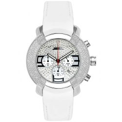 Aqua Master Chronograph Diamond White Leather Mens Watch