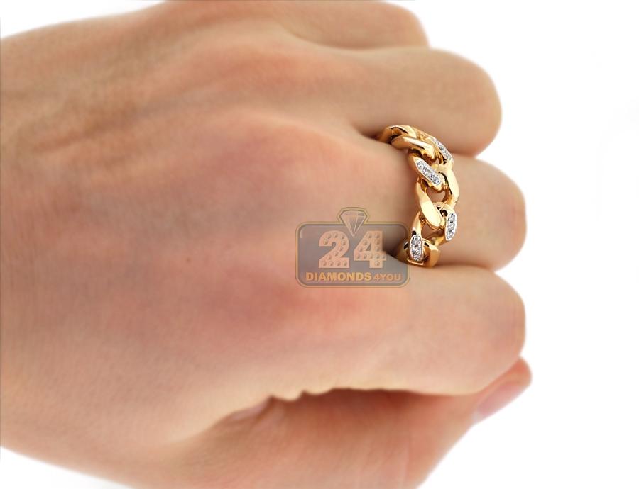 Mens Diamond Cuban Curb Link Mens Ring 10k Yellow Gold 0 25 Ct