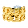 Mens Miami Cuban Link Two Rows Ring Solid 10K Yellow Gold
