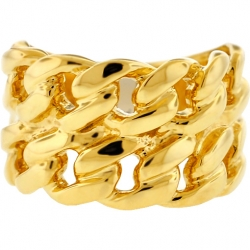 10K Yellow Gold Solid Miami Cuban Link Mens Ring