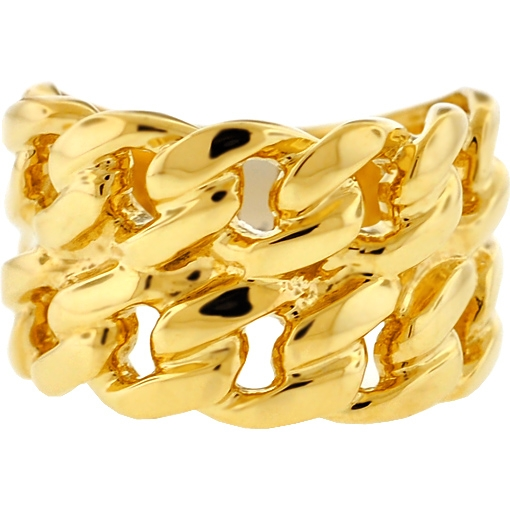 Miami Cuban Link Two Rows Ring Solid 10K Yellow Gold