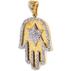 Mens Diamond Hamsa Hand Star of David Pendant 14K Yellow Gold