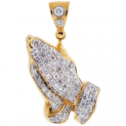 14K Yellow Gold 0.95 ct Diamond Praying Hands Mens Pendant