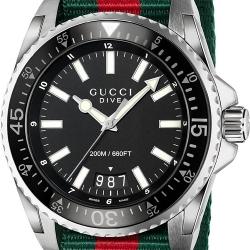 Gucci Dive Black Dial Nylon Mens Watch YA136206