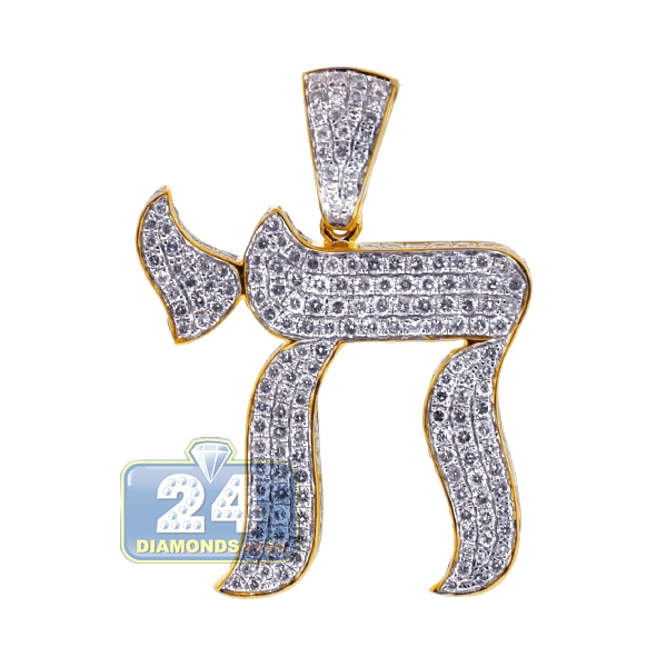 Iced out diamond chai pendant 14k yellow gold 465 ct 14k yellow gold 465 ct iced out diamond mens chai pendant mozeypictures Gallery