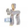 Mens Diamond Jewish Chai 3D Pendant 14K Yellow Gold 4.65 ct