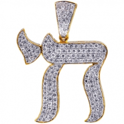14K Yellow Gold 4.65 ct Iced Out Diamond Chai Mens Pendant