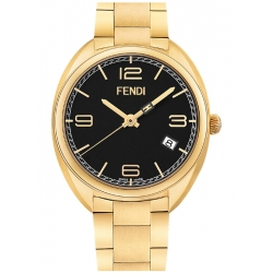 F211431000 Fendi Momento Yellow Gold Black DIal Womens Watch
