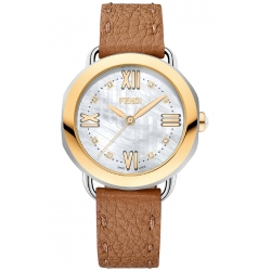 Fendi Selleria Brown Leather Womens Watch F8041345A2D1