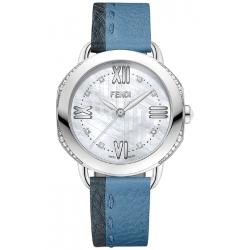 Fendi Selleria Diamond Blue Leather Womens Watch F8050345A3C1