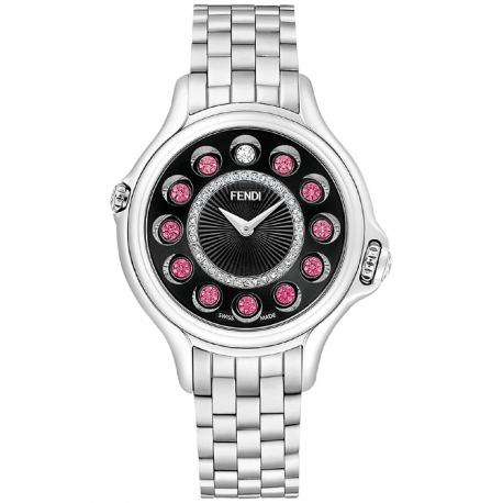 F107031000D2T05 Fendi Crazy Carats Black Diamond Dial Watch 38mm