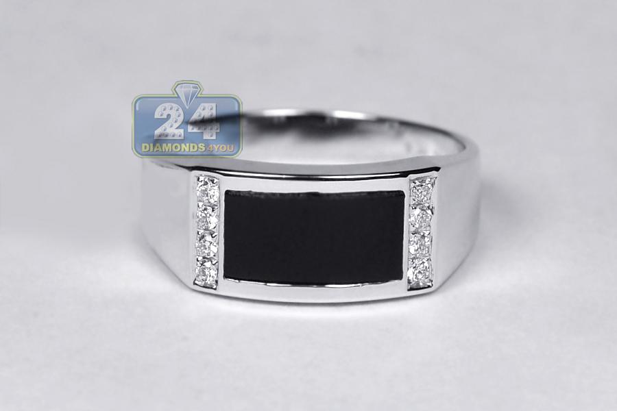 mens 0 12ct black onyx rectangular ring 18k white gold