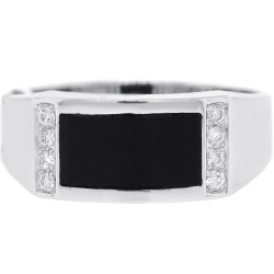 Mens Diamond Onyx Rectangle Pinky Ring 18K White Gold 0.12 ct