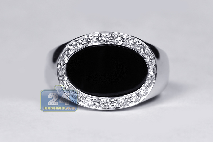 mens diamond oval onyx pinky ring 18k white gold ct. Black Bedroom Furniture Sets. Home Design Ideas