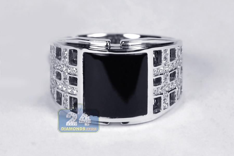 Mens Diamond Square Onyx Openwork Ring 18k White Gold 50 Ct