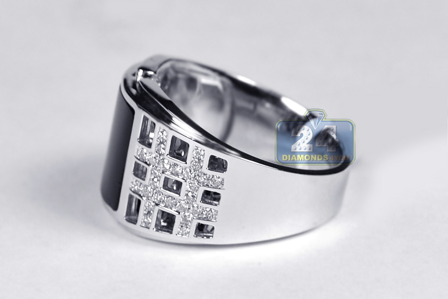 mens square openwork onyx ring 18k white gold 50 ct