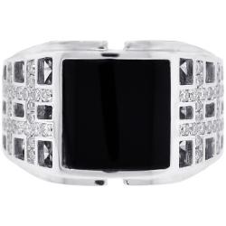 Mens Diamond Square Onyx Openwork Ring 18K White Gold .50 ct