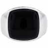18K White Gold 0.40 ct Diamond Cabochon Onyx Mens Ring