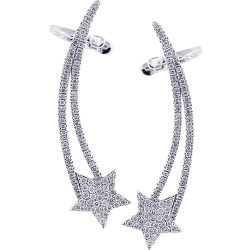 18K White Gold 0.95 ct Diamond Star Womens Ear Crawlers