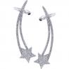 Womens Diamond Star Ear Crawlers 18K White Gold 0.95 Carat