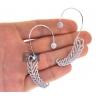Womens Diamond Ear Cuffs Earrings 18K White Gold 2.00 Carat