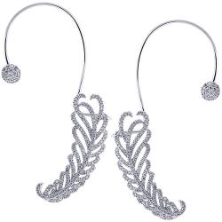 Womens Diamond Ear Cuffs Earrings 18K White Gold 2.00 Carat