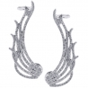 Womens Diamond Wing Ear Crawlers 18K White Gold 1.67 Carat