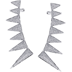 18K White Gold 2.41 ct Diamond Spike Womens Ear Crawlers