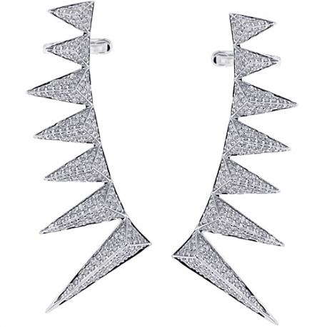 Womens Diamond Spike Ear Crawlers 18K White Gold 2.41 Carats