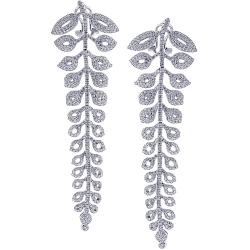 18K White Gold 5.79 ct Diamond Womens Floral Dangle Earrings