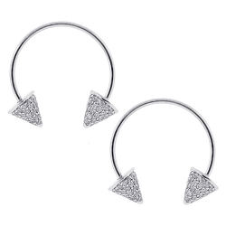 Womens Diamond Double Spike Drop Earrings 14K White Gold 1.30 ct